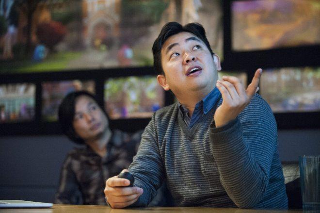 "Sets Art Director, Robert Kondo talks to press about ""monsterizing"" the world of MU at Monsters University Long Lead Press Days. Emeryville, California. April 9, 2013 (Photo by Jessica Lifland/Pixar)"