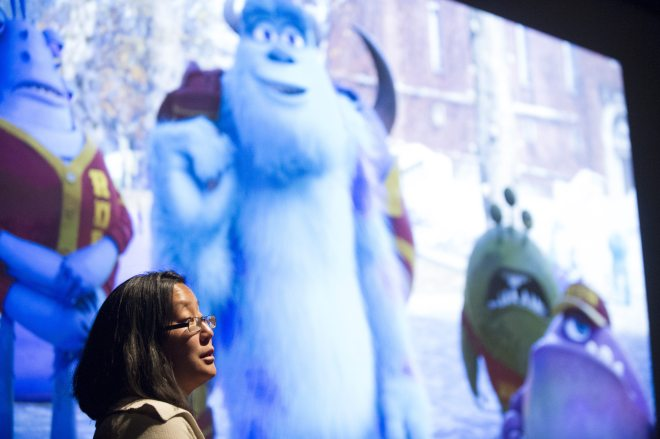 Simulation Supervisor, Christine Waggoner talks to press about the technical challenges and achievements of the film at Monsters University Long Lead Press Days. Emeryville, California. April 10, 2013 (Photo by Jessica Lifland/Pixar)