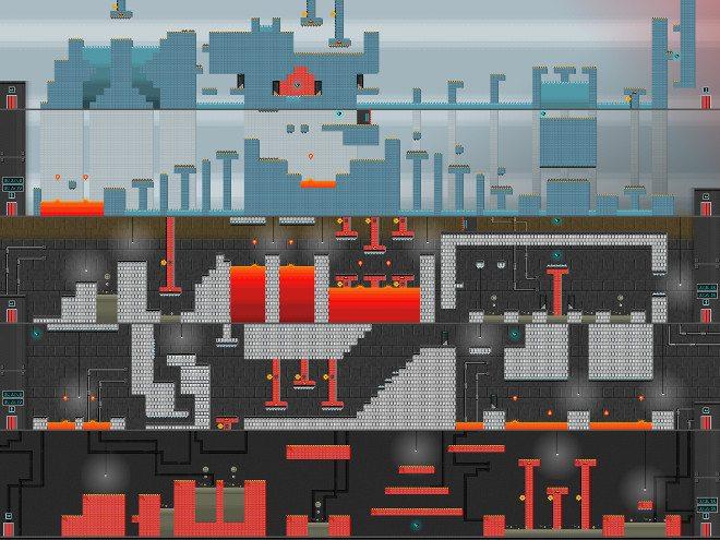 A complete five-floor Pixel Press game level.