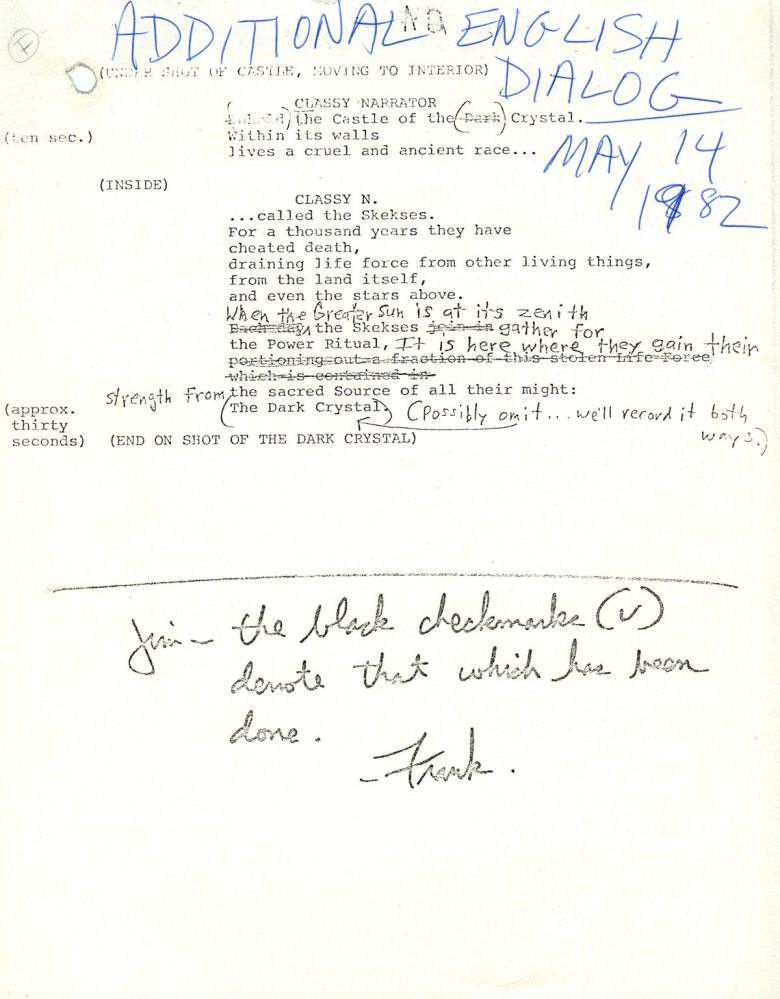April 19-30, 1982: Jim Henson works on changes to the script. See Frank Oz's note to Jim at the bottom.