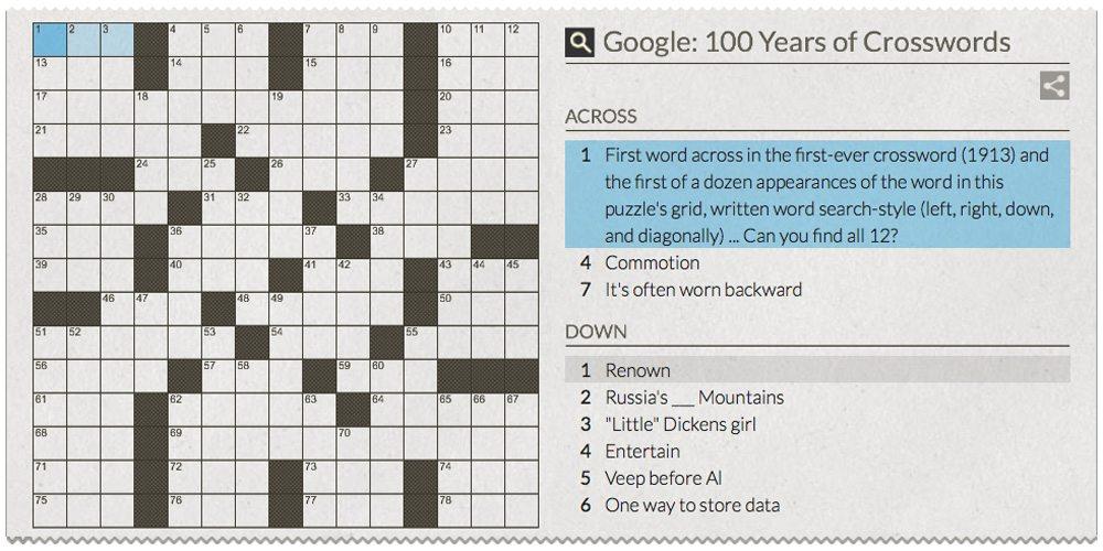 100 Down. Happy Birthday, Crossword Puzzles!