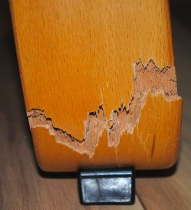 clse-up of snapped Ikea armchair