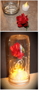 Hang a small silk rose from an upside-down jar for Beast's enchanted rose.