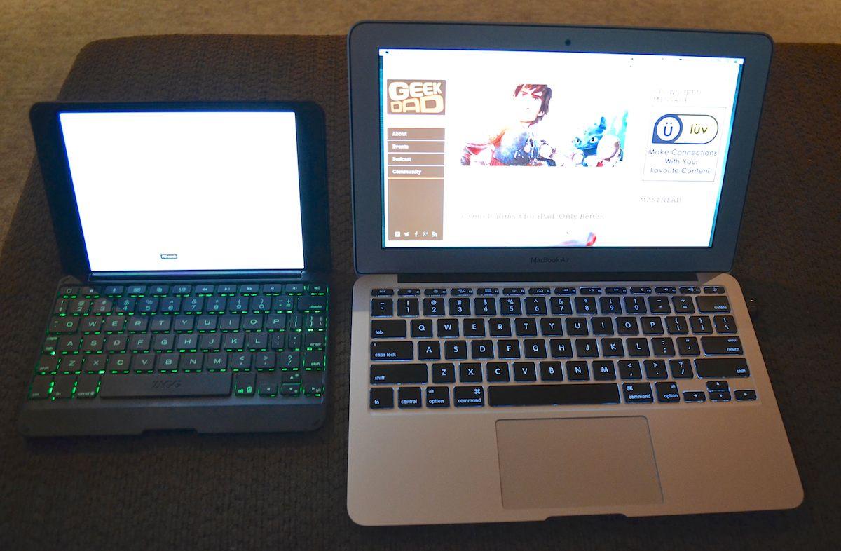 iPad Mini in ZAGG Folio compared to 11-inch MBA