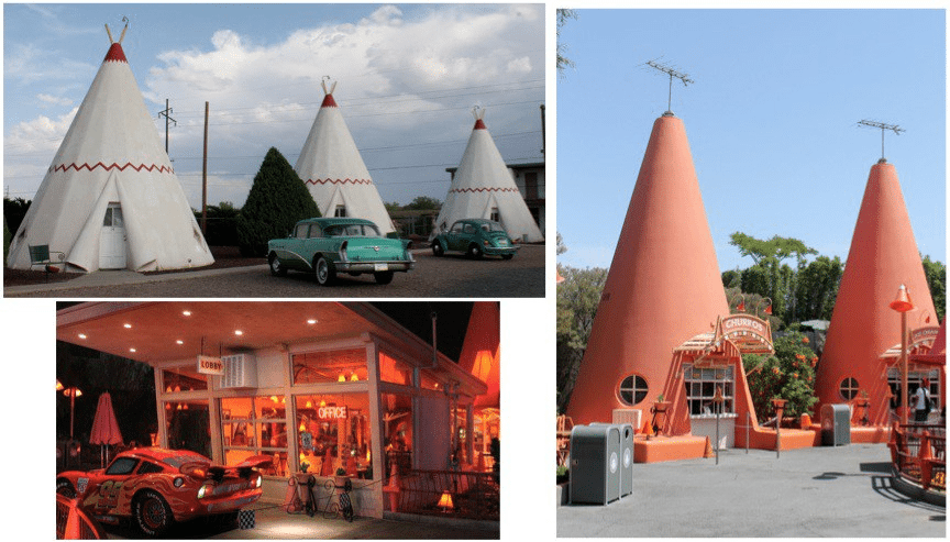 The Wigwam Hotel in Holbrook, Arizona (top left), still welcomes overnight guests, and The Cozy Cone (bottom left and right), welcomes photo ops and hungry visitors.