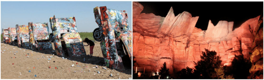 Cadillac Ranch near Amarillo is one of the few places graffiti is encouraged (left), and the rock formations at Ornament Valley in Radiator Springs bear a striking resemblance to their tail fins.