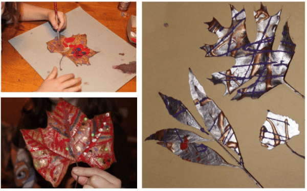 Use leaves as a rustic canvas for painting.
