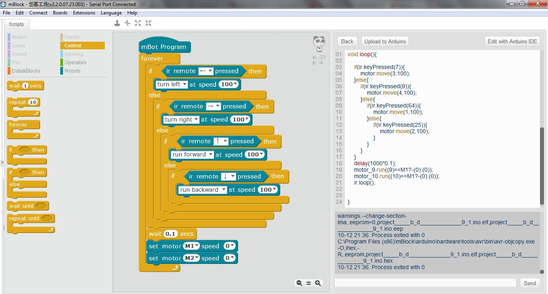 Un programme simple pour le contrôle à distance de mBot