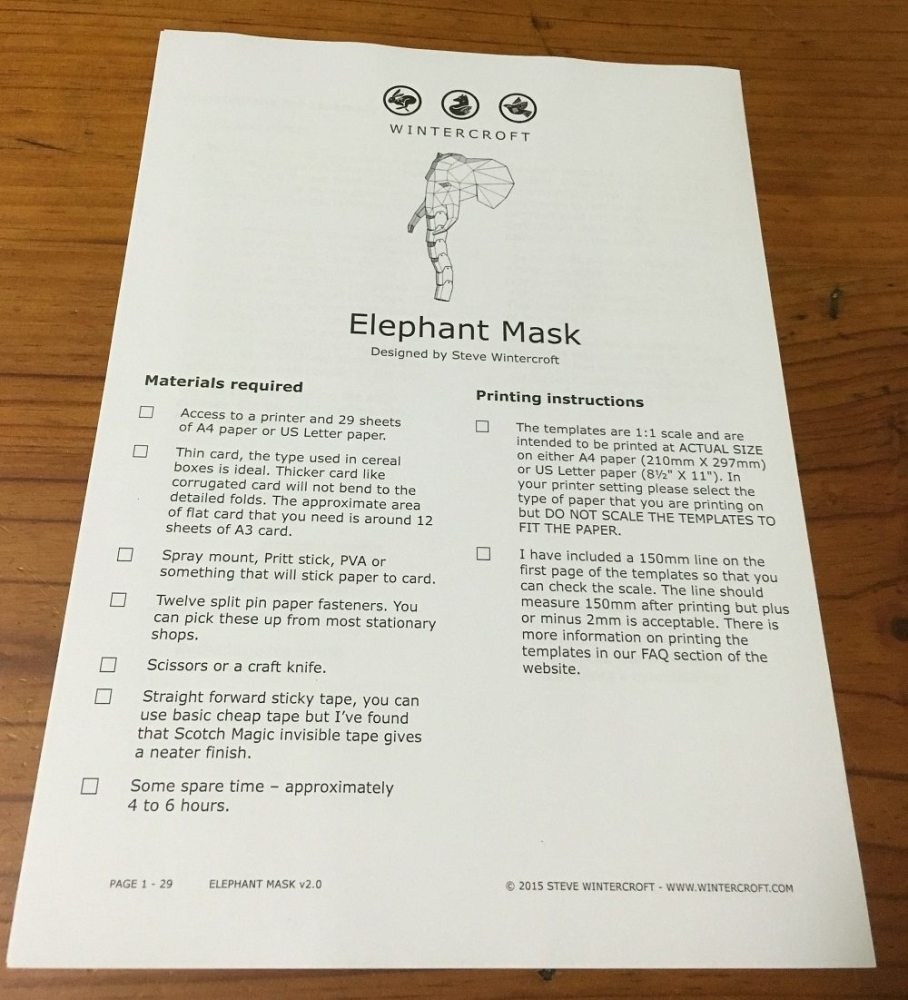 DIY Elephant Mask