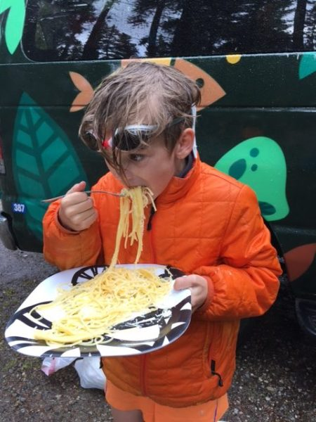 However, if one chooses hotels over vans, one never has to war swim goggles while eating spaghetti.