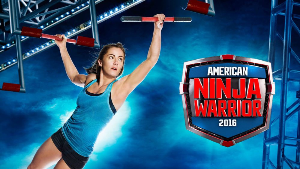 American Ninja Warrior's Kacy Catanzaro flies through the air. Photo courtesy ANW-NBC