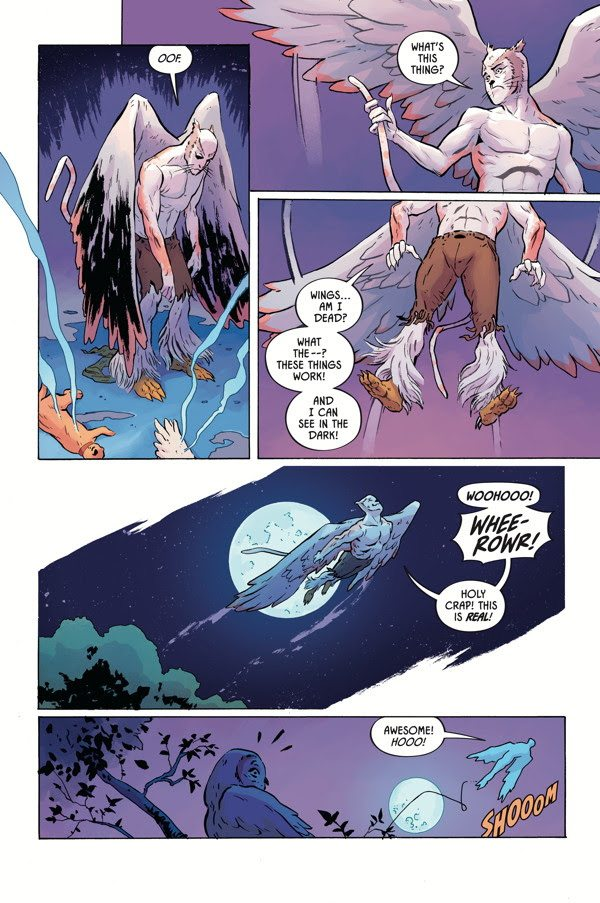 The hero takes flight. Image via Dark Horse Comics.