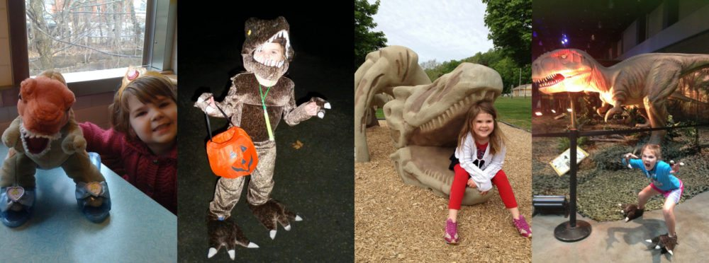 Aeris and dinosaurs at various ages