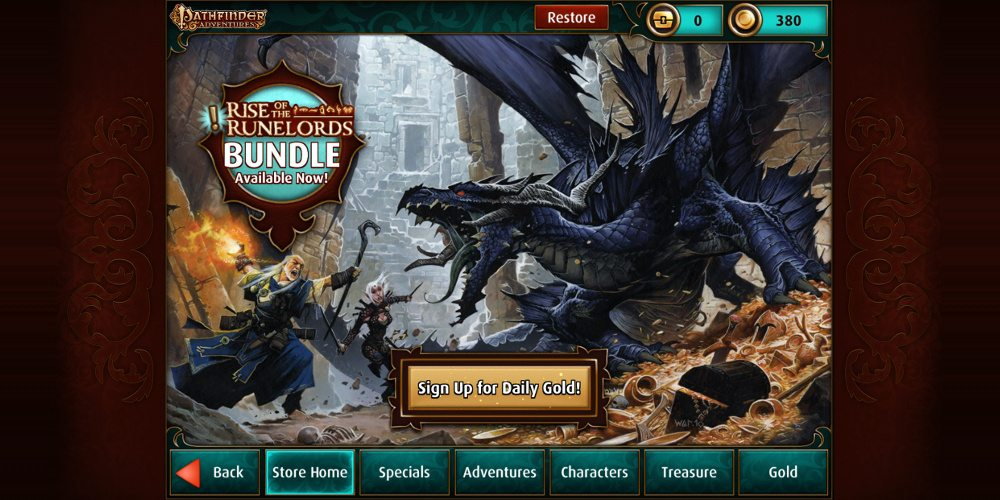 The main screen of the in-app store showing the tabs: Store Home, Specials, Adventures, Characters, Treasure, and Gold. There is also a lit golden-colored button that says