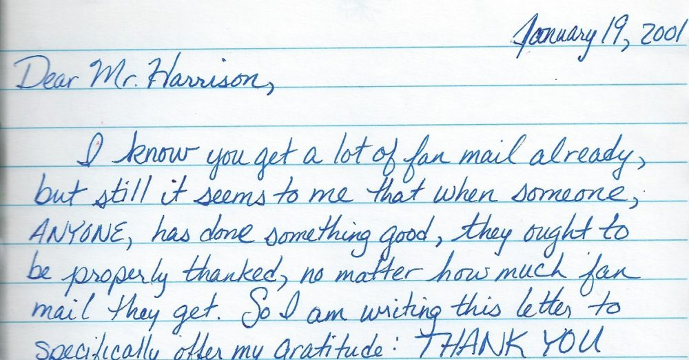 Beginning of the fan letter I wrote, but never sent, to George Harrison.
