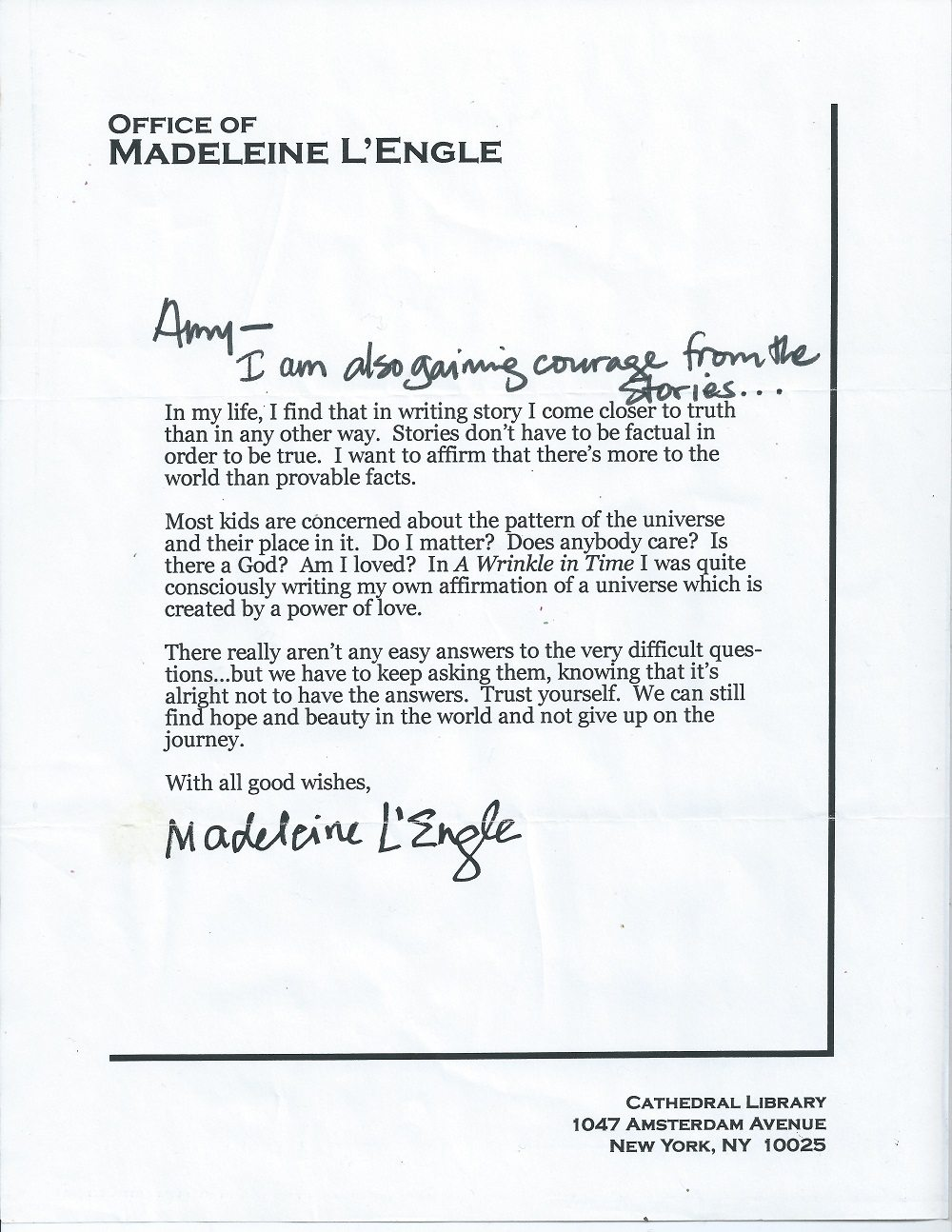 Letter from Madeleine Lengle as received by Amy Matviya in November 2001