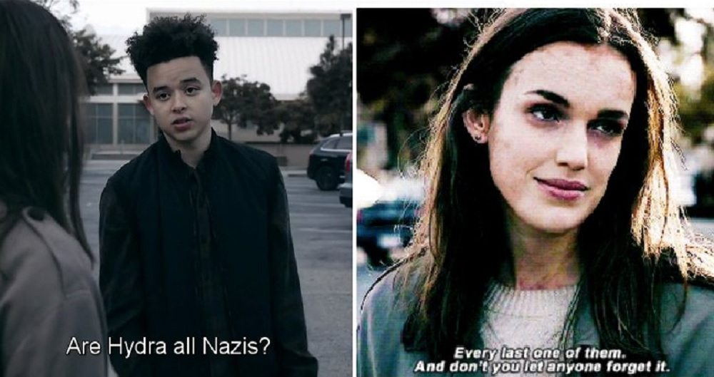 """Kid: """"Are all Hydra Nazis?"""" Simmons: """"Every last one of them. And don't you let anyone forget it."""""""