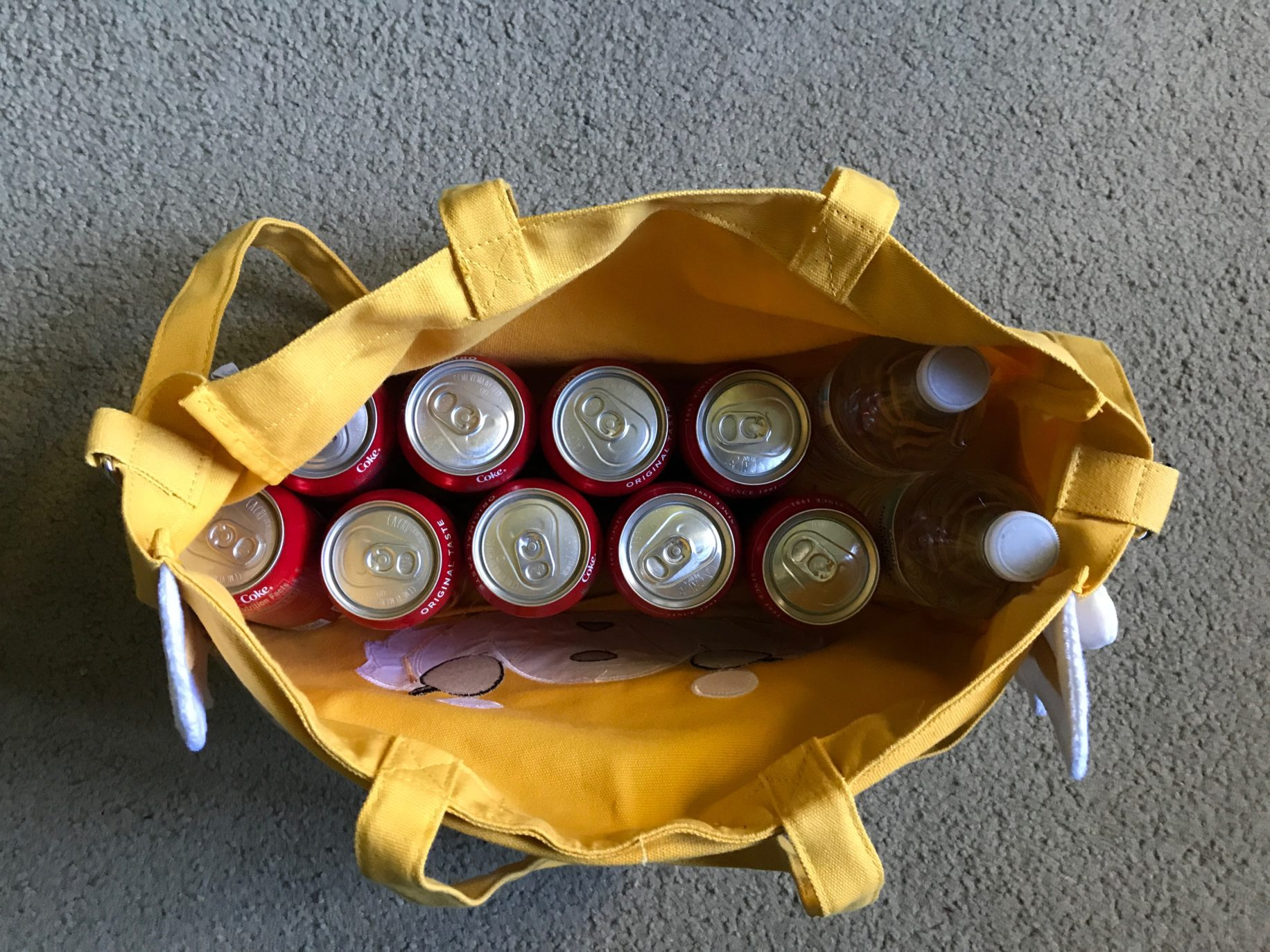 Aggretsuko bag holds quite a few cokes.  Image: Dakster Sullivan