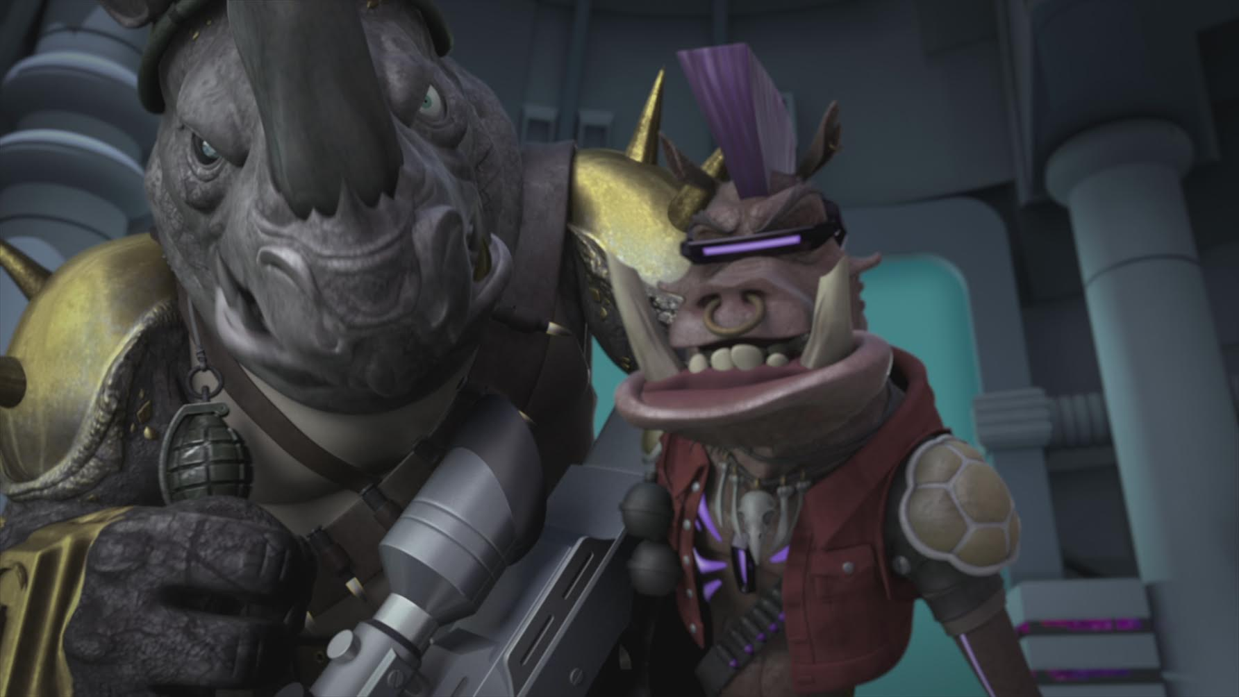 My son's Bebop and Rocksteady actually look like thugs you wouldn't want to cross.  Image: Nickelodeon.
